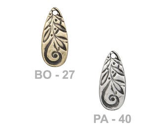 TierraCast 22mm Jardin Teardrop Charm - choose from brass oxide or antique pewter - reversible two-sided charm with abstract floral patterns