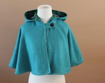 Blue Wool Cape Capelet Hood Tudor Childs Fairy Tale Dress Up Renaissance Medieval Costume