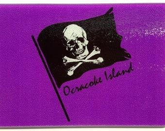 Ocracoke Pirate Flag glass Cutting Board serving tray nautical gift Skull Crossbones