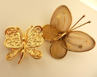 Beautiful delicate butterfly brooches - by GERRY's gold scrolls wings & unsigned Mesh Butterfly Pin  Gold Flower Accents - Art.608 -