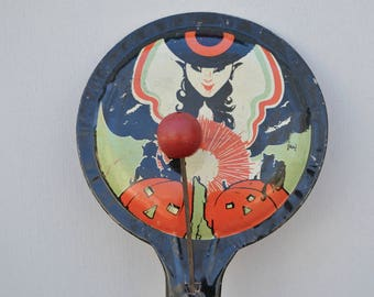 Witch Paddle Vintage Tin Halloween  . Noise Maker. Vintage .  Orange & Black Tin . Vintage Halloween .  Collectible . Made In USA