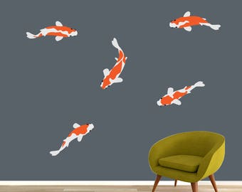 Koi etsy for Koi fish wall stickers