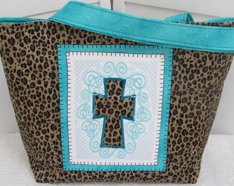 Leopard Print Cross Large Tote Bag Teal and Leopard Cross Purse Animal Print Cross Shoulder bag Teal Cross Market Bag  Ready To Ship
