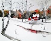 Original colorful print LANDSCAPE original watercolor original painting modern LANDSCAPE PAINTING