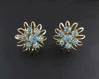 Blue Rhinestone Earrings, Starburst Earrings, Turquoise Earrings, Blue Earrings, Wire Earrings, Retro Earrings, Rhinestone Earrings