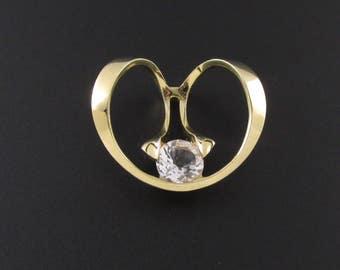 14K Gold Modernist Pendant, Strellman Pendant, Gold Pendant, Slider Pendant, White Topaz Pendant, 14K Gold Pendant, Unique Pendant