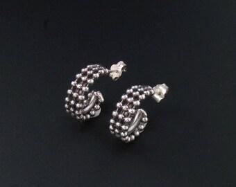 Sterling Silver Hoop Earrings, Sterling Silver Earrings, Silver Hoop Earrings, Small Hoop Earrings, Beaded Hoop Earrings, Italian Sterling