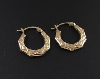 10K Gold Hoop Earrings, Gold Earrings, Hoop Earrings, 10k Gold Earrings, Real Gold Earrings, Etched Hoop Earrings, Small Hoop Earrings