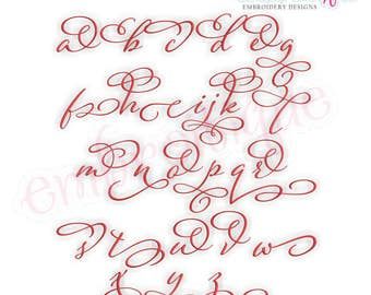 Eleanor Set 4-Lowercase Alternates - Small - Calligraphy Script font - BX files included- Instant Download Machine embroidery design
