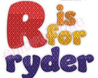 Ryder Bubble Letter Monogram Font Set  - BX Files included- Instant Download Machine embroidery design