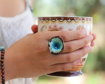Boho jewelry Turquoise ring - Ceramic jewelry Boho chic