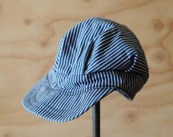 Vintage Hickory Stripe Engineer Cap | Americana Railroad Train Conductor Hat | Indigo Blue White Denim | FREE SHIPPING