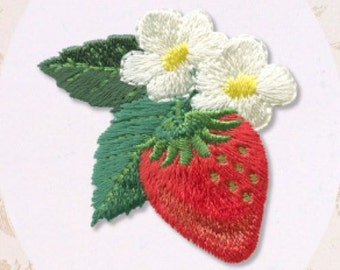 Fresh Strawberry & Flower, Kawaii Plant Embroidered Iron On Patch, Japanese Iron on Applique, Natural Motif, Easy Embroidery Applique, W303