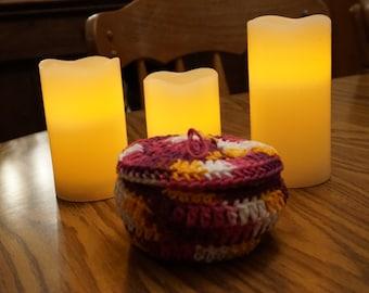 Crocheted Basket, eight scrubbies, facial scrubbies, cotton scrubbies, cotton basket, bath and beauty, woman's gift