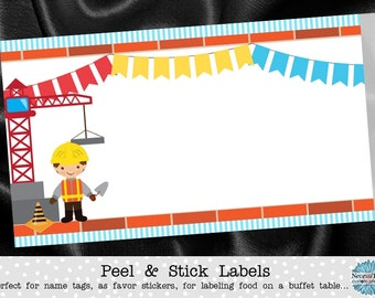 10 Blank Food Label Stickers, Food Buffet Labels, Name Tags, Construction Theme, Builder Worker, Crane, Red, Blue, Yellow, Birthday Party