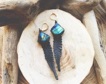 FERN - Labradorite and Copper Electroformed Fern Bohemian Statement Earrings