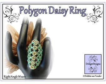 Beading Pattern, Tutorial, SuperDuo Ring - POLYGON DAISY