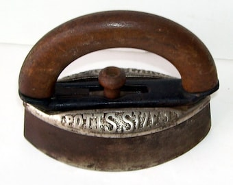 "Pott's Size 1 Clothes Sad Iron, Reading ""BEST ON EARTH and Pott's Size 1, Antique Sad Iron, Door Stop, Sad Iron, Rustic Country, Farm"