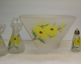 Anchor Hocking Frosted Glass  Salad Bowl with Vinegar and Oil Cruets, Matching Salt and Pepper Shakers, Gay Fad, Yellow Daisies, AH