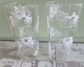 Vintage Glasses Horseless Carriage Drinking Glasses Tumblers Set of 2 Clear with White 1950's Rockaway Coach Brett Barouche Phaeton
