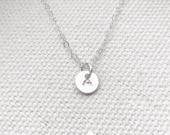 """SALE - Tiny Customized Sterling Silver Necklace - Hand Stamped Initial 1/4"""" disc - Personalized - Customized The Lovely Raindrop"""