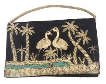 Vintage Black Velvet Metallic Embroidered Clutch Evening Bag Crane