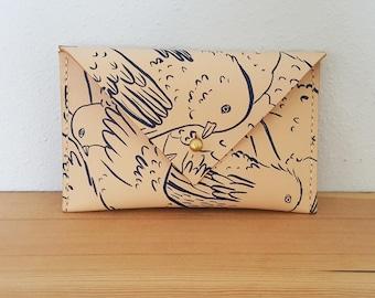 Leather Envelope Wallet in Birds Print