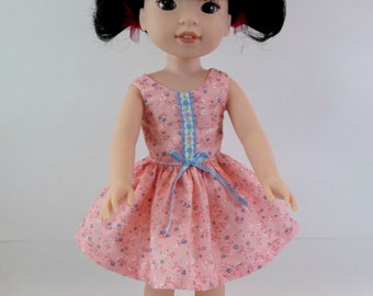 "Doll Dress for 14.5"" Doll Pink Sleeveless Dress Fits Wellie Wishers and Similar Dolls"