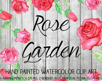 Instant Download - Hand Painted Watercolor Pink Red Roses Flowers Floral Arrangements Borders Clip Art Set - Item# 109 Rose Garden