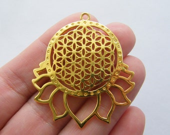 1 Flower of life lotus Sri Yantra charm gold tone GC420