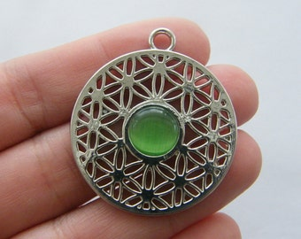 1 Flower of life charm silver tone M97