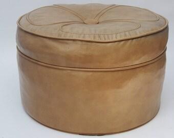 Vintage Mid Century Retro Round Ottoman-Button Flower Design-Tan-Large Footstool
