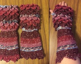 Crochet Gloves, Crocodile Scale, Dragon Scale - Feed My Hobby SALE