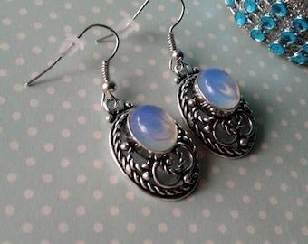 Opal Earrings,Opalite Earrings,Silver 925