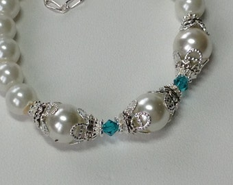 Pale Ivory Pearl and Emerald Green Crystal B dial Bridesmaid Bracelet