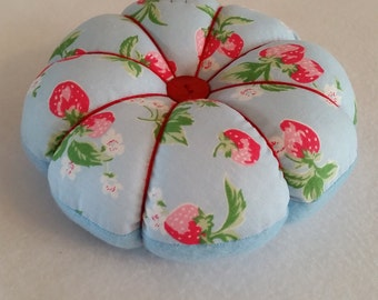 Handmade Large Pin Cushion made from Cath Kidston BLUE STRAWBERRY fabric