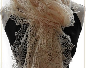 Little Secret, A fine knitted lace rectangle shawl PATTERN PDF