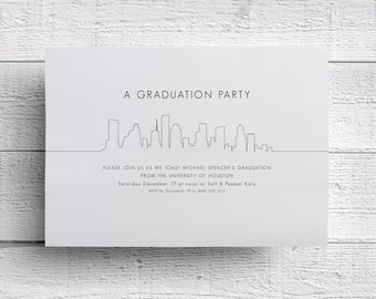 Houston Graduation Invitation, Graduation Party, Graduation Invite, Graduation Dinner, Graduation Announcement, College Graduation