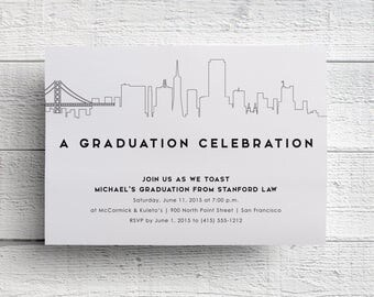 San Francisco Graduation Party Invitation, San Francisco Skyline, San Francisco Invite, Golden Gate Bridge, Berkeley, Stanford, SAMPLE