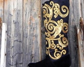 on hold  - 1980's black and gold, tall riding boot, women's size 7, Versace style