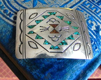 vintage, turquoise and silver, southwestern belt buckle by J.Nezzie