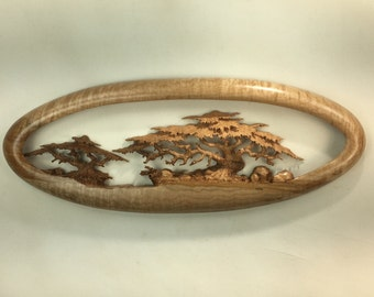 Cypress Tree wood Carving wooden wall hanging gift home decor