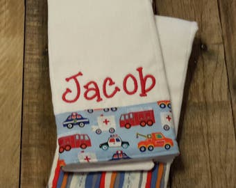 Personalized monogram boy burp cloth set / baby shower gift