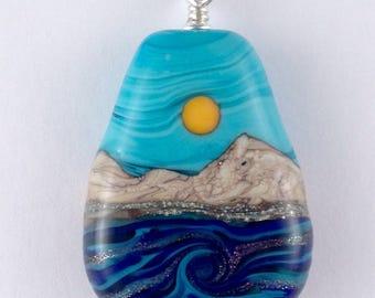 Ocean Waves - Lampwork Glass Bead Pendant - Sparkling Goldstone Waters