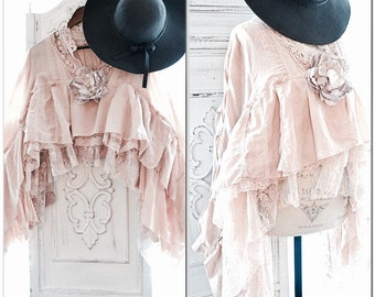 L XL Stevie Nicks style lace poncho, nude blush free people gypsy soul crop poncho, Boho clothing, Shabby cottage chic, True rebel clothing