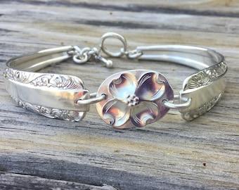 Sterling Silver Plate Flatware Bracelet w/Dogwood Flower