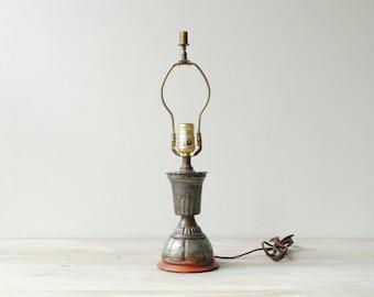 Vintage Table Lamp, Pressed Tin Lamp, Metal Lamp