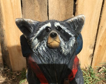 Backpacking Raccoon Chainsaw Carving