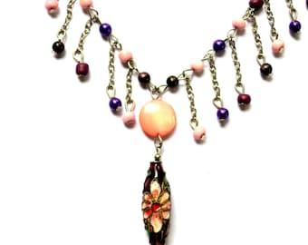Violet, Mauve, Purple ,Detailed, Cloisonne, Flat Pearl, Japanese Beeds,  Charm Necklace