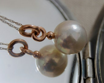 Alecia - gorgeous, rare, natural untreated white blush color Edison pearl pendant, 14k rose gold, pearl necklace, gift idea for her, wedding